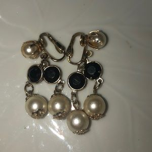 Vintage Hong Kong gold tone earrings faux pearls